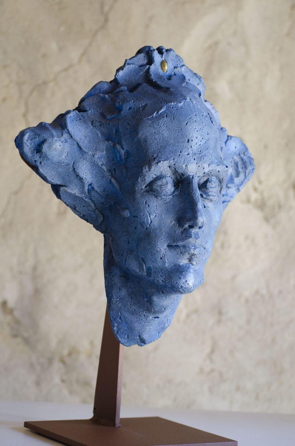 """"""" Graine Primaire ( bleue )"""" béton, 38 cm, pièce unique, 2016 - Pièce unique"""