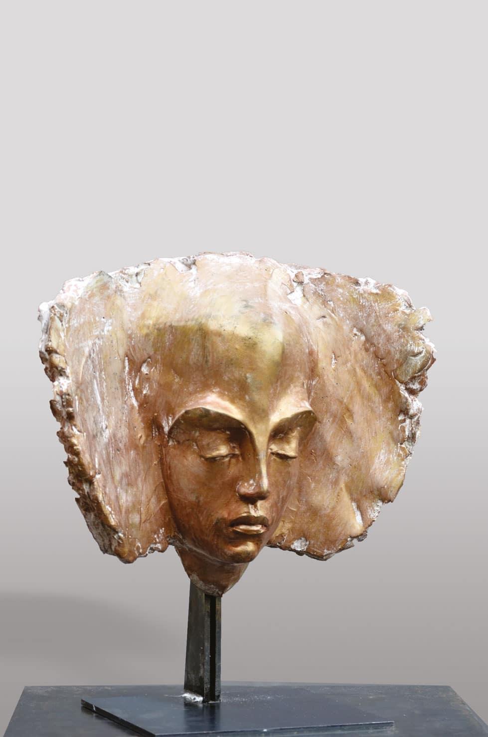 """ Precious silence "" béton polychrome, 38 cm, 2015 - Pièce unique"