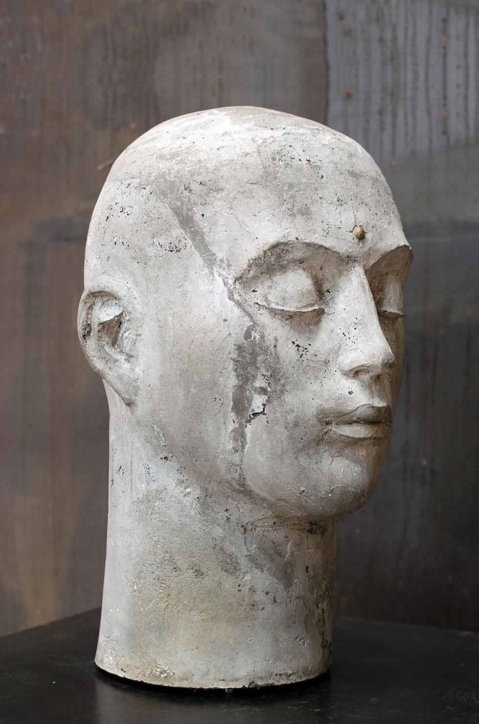 """"""" Head """" béton, 50 x 30 x 31 cm, 2018 - Pièce unique"""