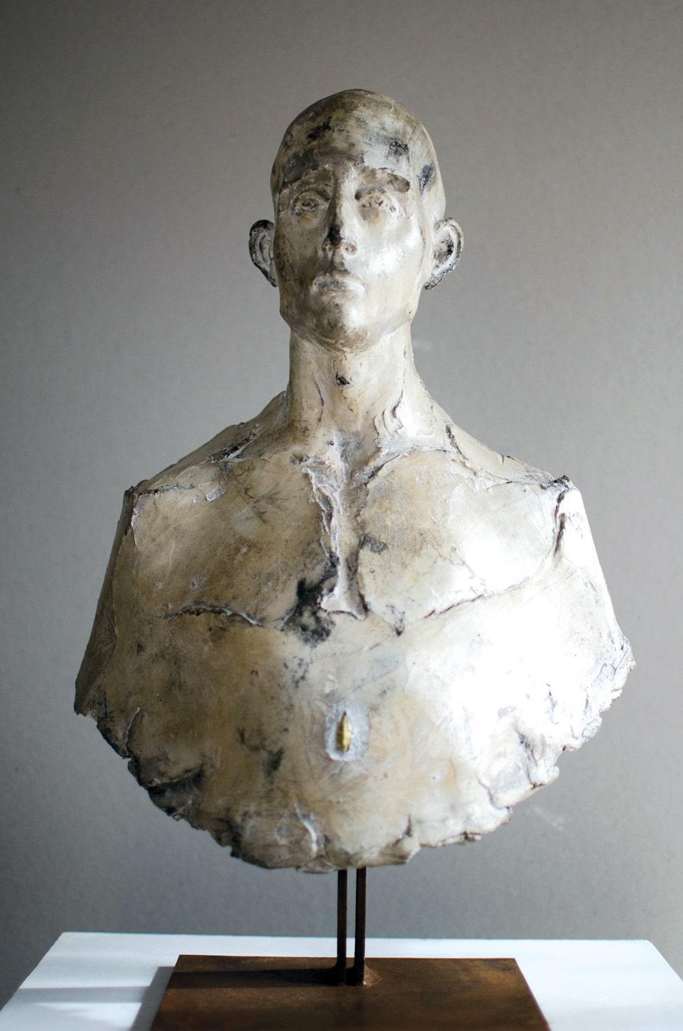 """"""" L'homme et la graine """", béton, 51 x 32 x 20 cm, 2016 - Pièce unique"""