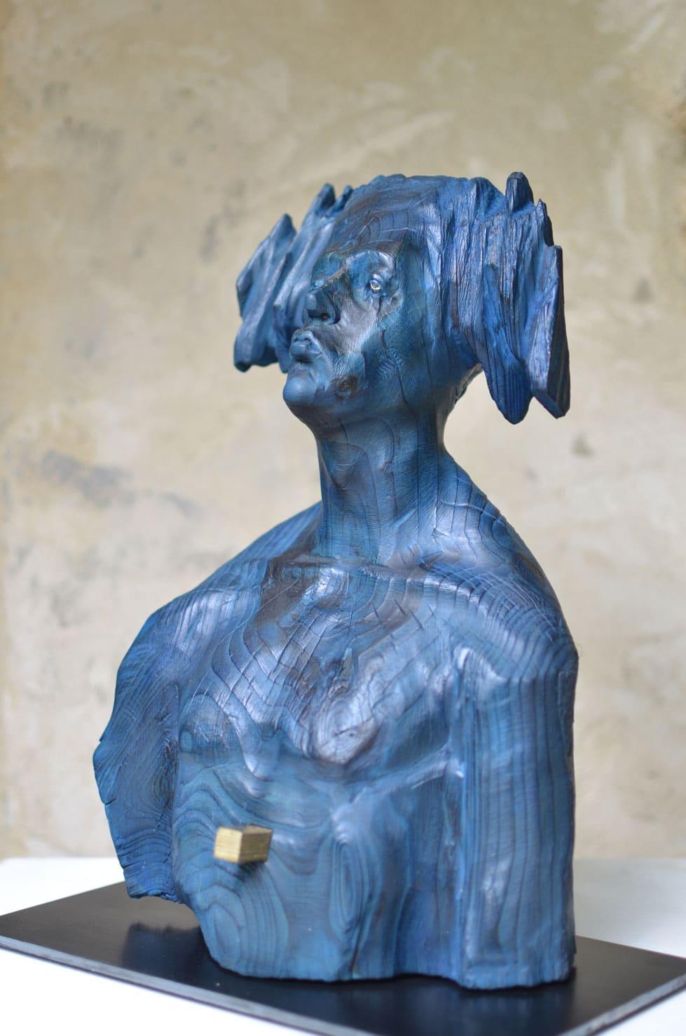 """"""" Nuit Etoilée """" cèdre polychrome, 36 cm, 2014 - Pièce unique"""