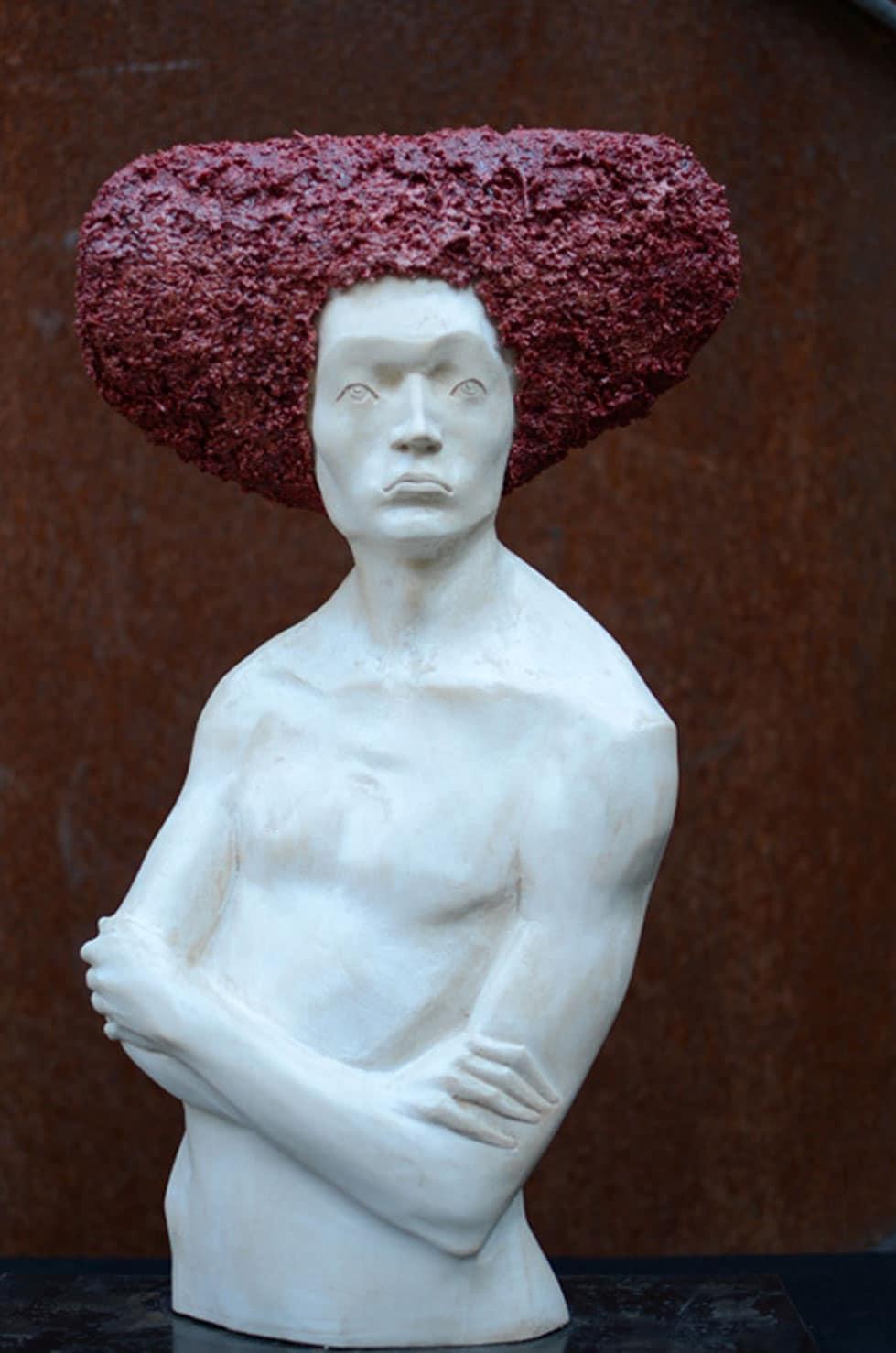 """"""" Red Soul """" 43 cm, tilleul, 2013 - Pièce unique"""