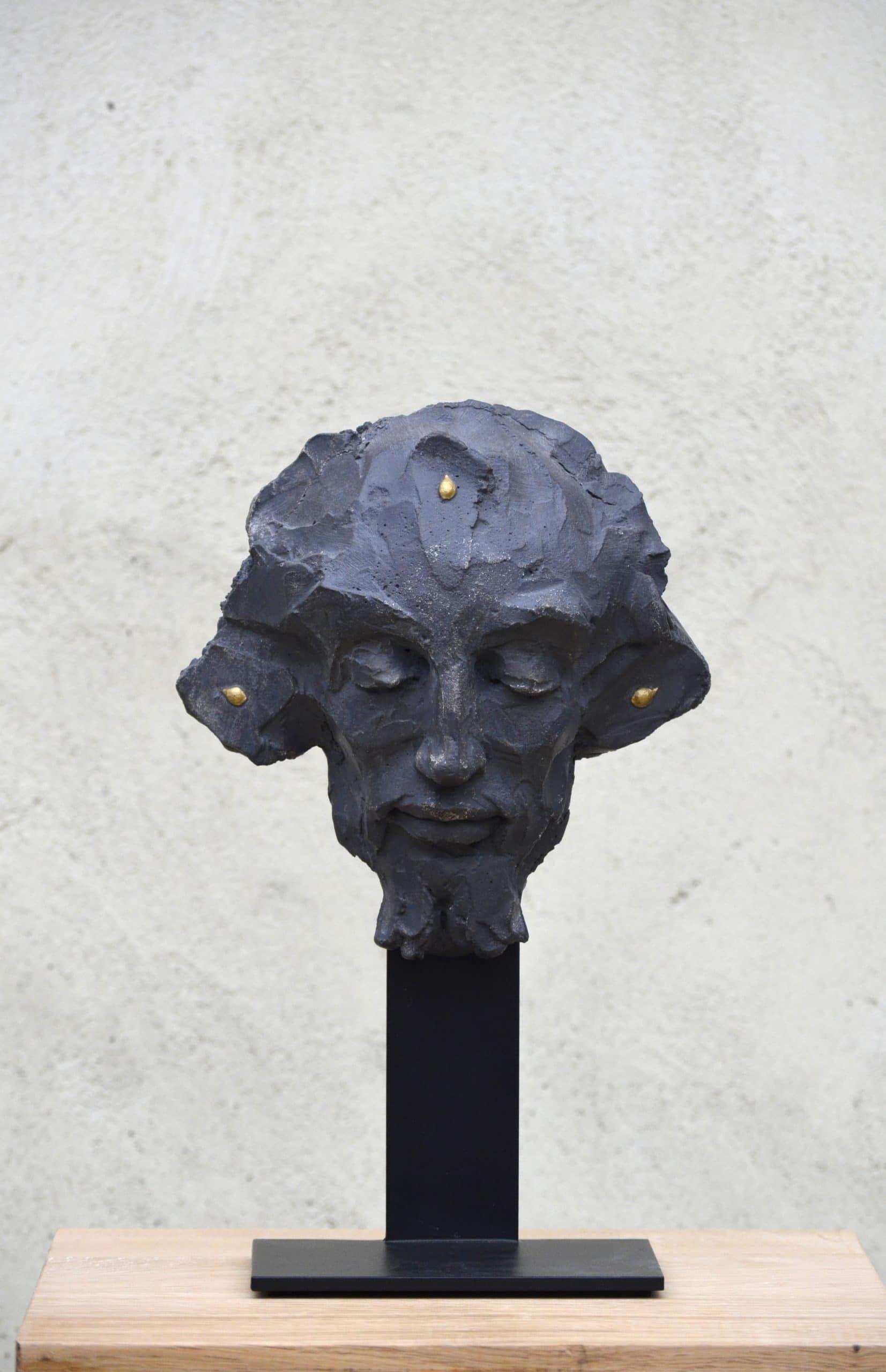 """"""" Head 3 """" béton, 50 x 31 x 27 cm, 2018 - Pièce unique"""