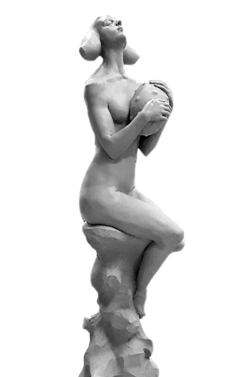 """"""" A Pearl in the Ocean """", béton, 59 x 32 x 30 cm, 2018 - Pièce unique"""